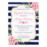 Bridal Shower Watercolor Floral Navy Blue Stripes 13 Cm X 18 Cm Invitation Card