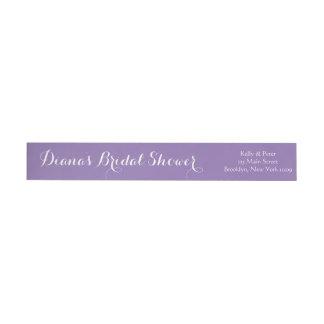 Bridal Shower Wedding Envelope Purple Wraparound Return Address Label