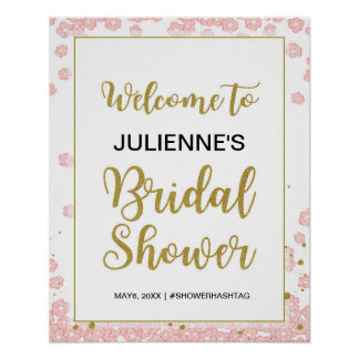 Bridal Shower Welcome | Pink and Gold Glitter Poster