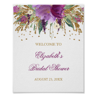 Bridal Shower Welcome Sign Floral Glitter Amethyst