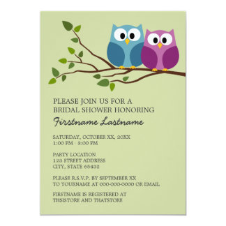 Bridal Shower with Owl Couple on Branch 13 Cm X 18 Cm Invitation Card