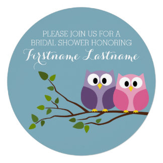 Bridal Shower with Owl Couple on Branch Custom Announcements