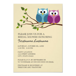 """Bridal Shower with Owl Couple on Branch 5"""" X 7"""" Invitation Card"""