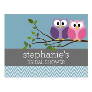 Bridal Shower with Owl Couple on Branch Post Cards