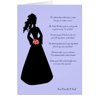 Bridal Silhouette Will You Be My Bridesmaid Blue I Card