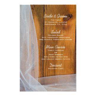 Bridal Veil and Barn Wood Country Wedding Menu
