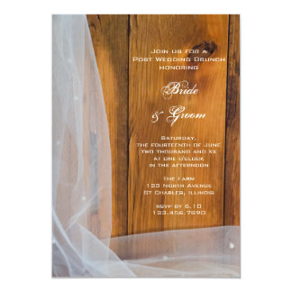Bridal Veil Barn Wood Country Post Wedding Brunch Card