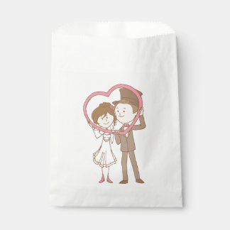Bride And Groom Cartoon Pink Heart Brown Wedding Favour Bags