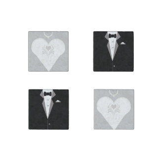Bride and Groom Marble Stone Coasters Stone Magnet
