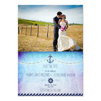 Bride and groom on a field/nautic theme 13 cm x 18 cm invitation card
