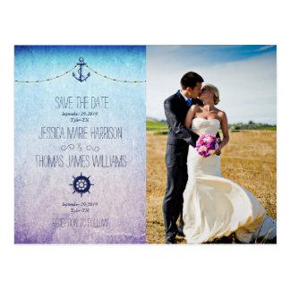 Bride and groom on a field/nautic theme postcard