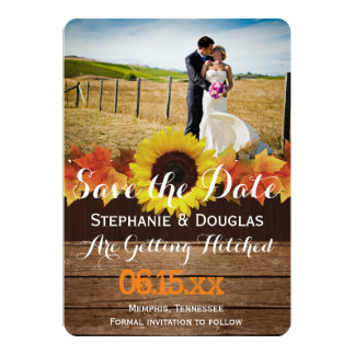 Bride and groom on a field/Save The Date 13 Cm X 18 Cm Invitation Card