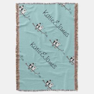 Bride and Groom Owls Wedding Throw Blanket