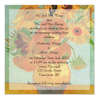 Bride and groom parents'  invitation, wedding 13 cm x 13 cm square invitation card