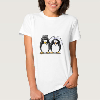 Bride and Groom Penguins Tee Shirt