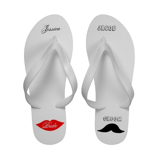 Bride and Groom Personalized Flip Flops