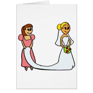 Bride and Maid of Honor Cartoon Card