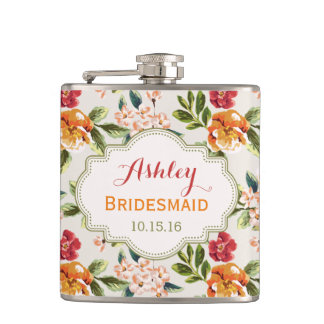 Bride Bridesmaid Classy Vintage Floral Wedding Hip Flask