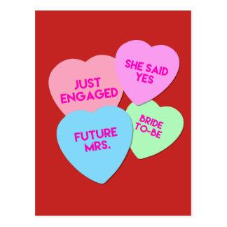 Bride Candy Hearts Postcard