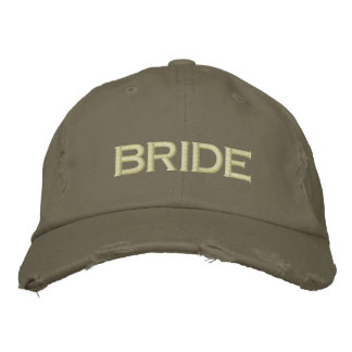 Bride cap in army green embroidered baseball caps
