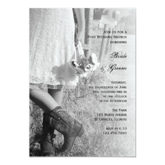Bride Cowboy Boots Sunflowers Post Wedding Brunch Card