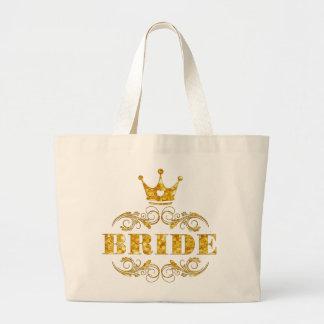 Bride Glitter Golden on Custom Background Large Tote Bag