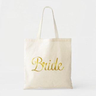 Bride Gold Cursive Tote