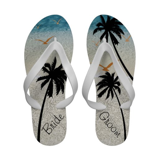Bride Groom Beach and Trees Sandals