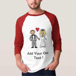 Bride & Groom Cartoon - Add Your Own Message Shirts