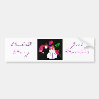 """Bride & Groom Just Married II"" Bumper Sticker Car Bumper Sticker"