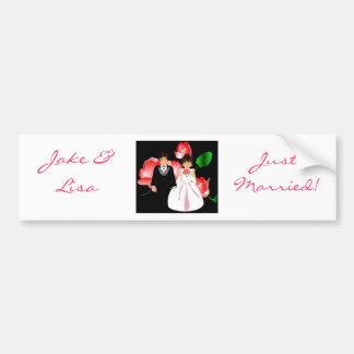 """Bride & Groom Just Married III"" Bumper Sticker Car Bumper Sticker"