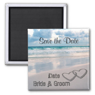 Bride & Groom Names Written in the Sand Square Magnet