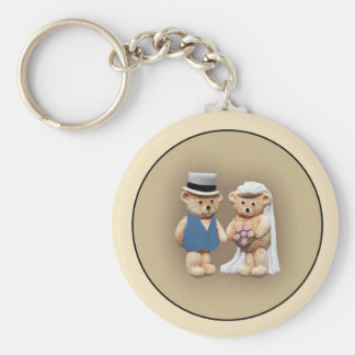 Bride & Groom Teddy Bears Basic Round Button Key Ring