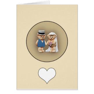 Bride & Groom Teddy Bears Greeting Card