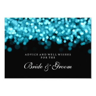 Bride & Groom Wedding Advice Card Turquoise Lights