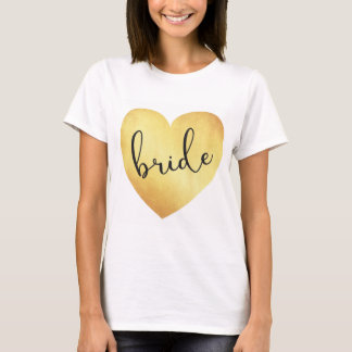 bride modern calligraphy tshirt with gold foil