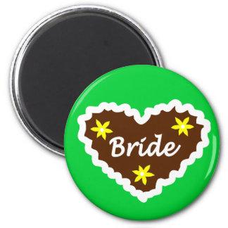 Bride Oktoberfest Heart Design 6 Cm Round Magnet