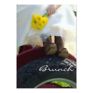 Bride on Tractor Farm Post Wedding Brunch Invite