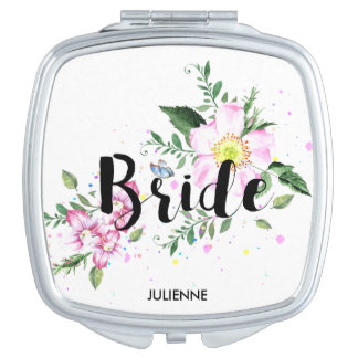 Bride Pink Blush Floral Watercolor Wedding Mirror For Makeup