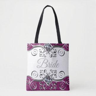 Bride Pink Glitter Silver Swirls Jewel