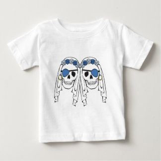 Bride Pirate Skulls Blue Baby T-Shirt