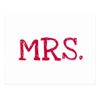 Bride Red Text Mrs. Postcard