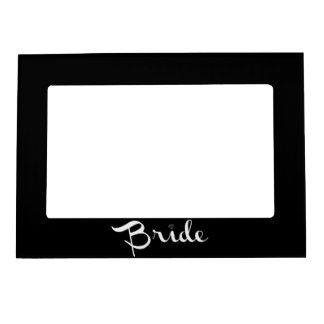 Bride Retro Script White Photo Frame Magnets