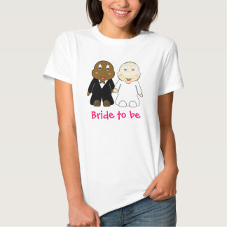 Bride to Be Slogan with Cartoon Bride and Groom Shirt