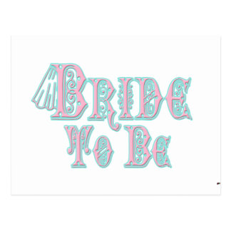Bride To Be With Veil, Pink and Teal Type Postcard