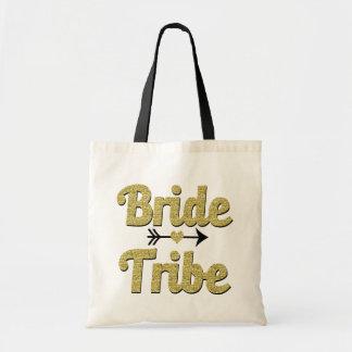 Bride Tribe Bridesmaid Tote Bag Gold Glitter