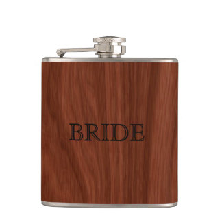 Bride Woodgrain | Elegant Wedding Party Hip Flask