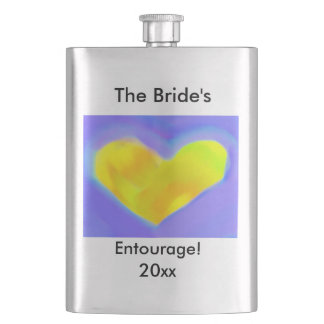 """Bride's Entourage!"" Personalize Text with Heart Hip Flask"