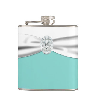 Bride's Teal Blue Wedding Hip Flask