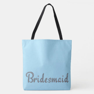Bridesmaid bling and custom background color tote bag